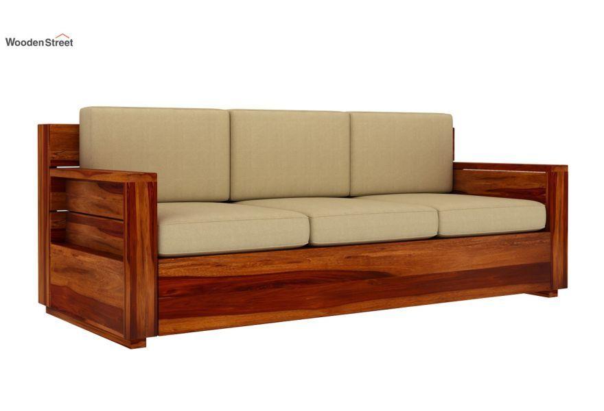 Buy Marriott 3 Seater Wooden Sofa (Honey Finish) Online in ...