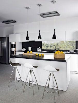 Cocinas Incorporadas Al Salon Cocina Blanca Y Negra Diseno Muebles De Cocina Diseno De Interiores De Cocina