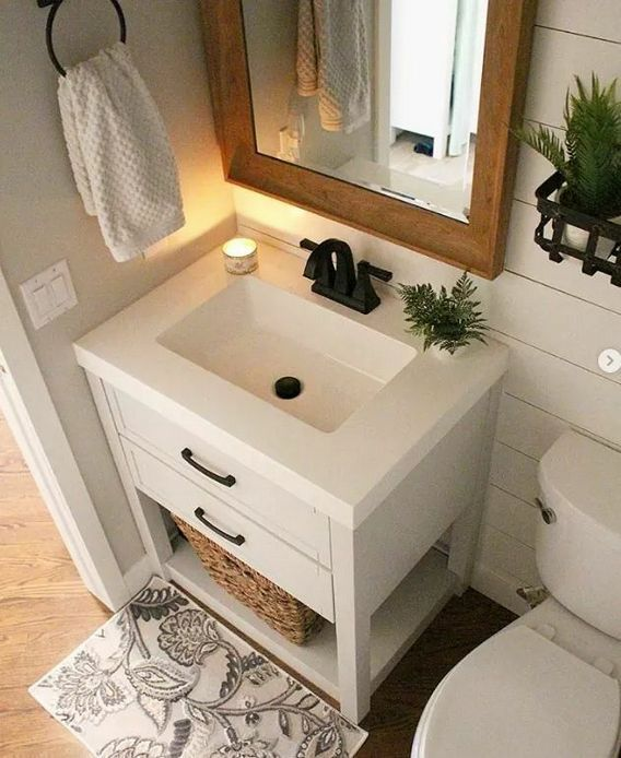 +46 Most Popular Ways To Small Guest Bathroom Ideas Half Baths Powder Rooms Vanities 26 - #Bathroom #Baths #Guest #ideas #Popular #Powder #powderrooms #Rooms #Small #Vanities #Ways #smallbathroomremodel