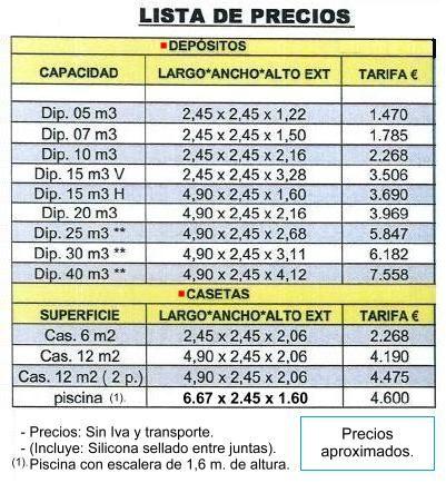 CASETAS DEPOSITOS Y PISCINAS PREFABRICADAS EN HORMIGON (PRECIOS).
