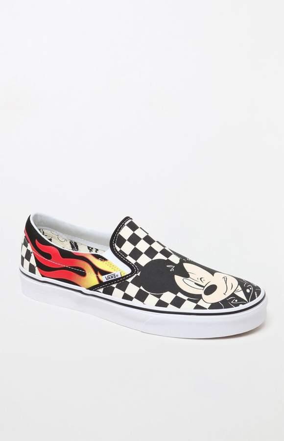 Vans x Disney Mickey   Minnie Checker Flame Slip-On Shoes Disney Mickey 76487f5d6