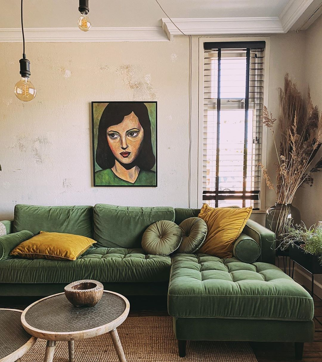 Bohemian Decors On Instagram Via Cosiesthome Do You Like The Green Yellow Combo Living Room Green Apartment Interior Decorating Green Couch Living Room Living room yellow green