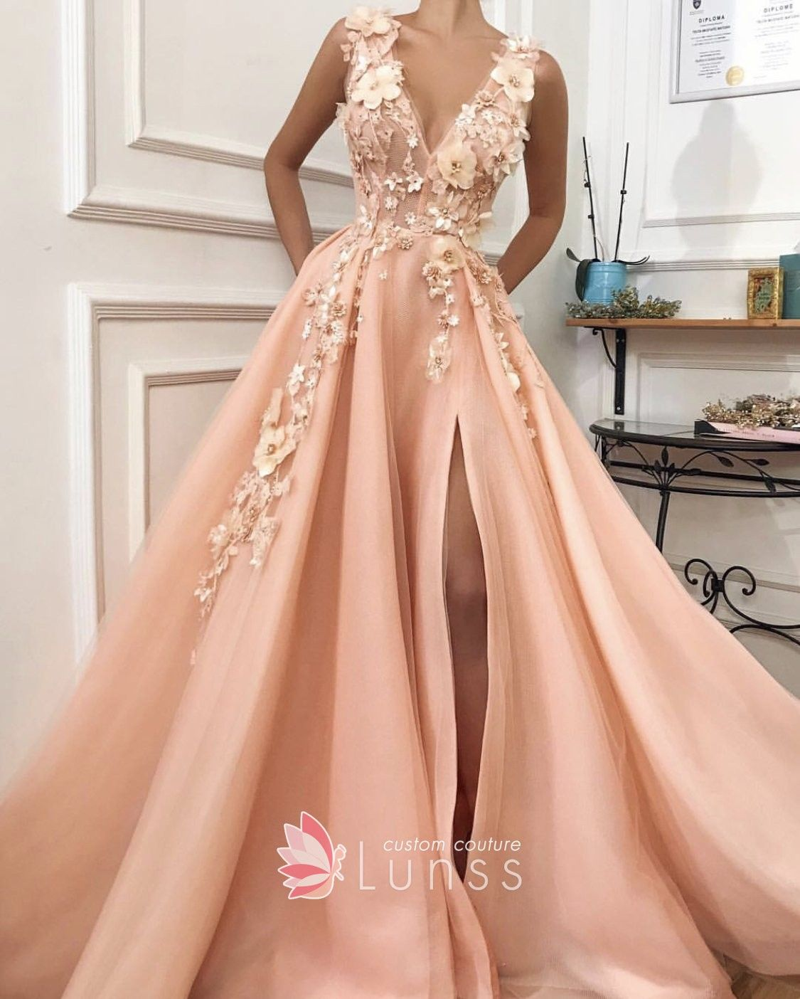 8a048702eb1 Pink salmon mesh long A-line evening   special occasion dress with  embroidered flowers and high slit. V neckline.