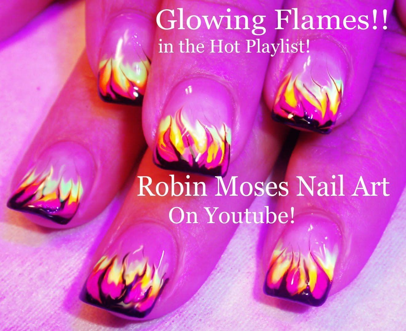 DIY No Water Marble Nail Art | Glowing Flames Design Tutorial ...