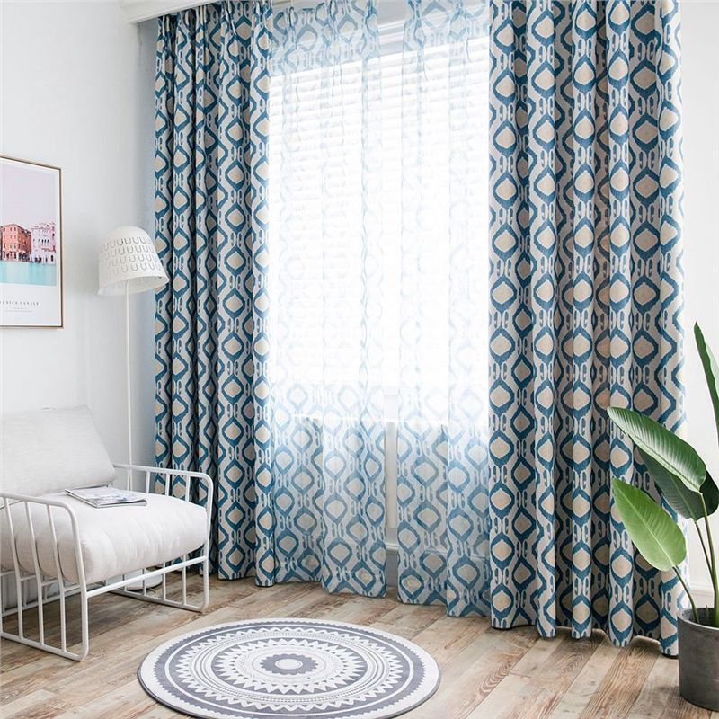 Minimalismus Vorhang Blau Geometrie Im Schlafzimmer In