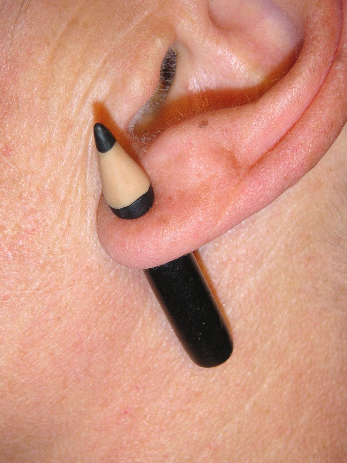 Cow nose piercing  Pair of fake gauge pencil earrings polymer clay pencils through the