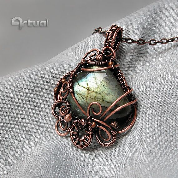 Wire wrapped pendant wire jewelry Labrdorite pendant by Artual