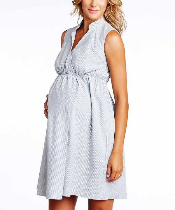 3eb9c8e4831cb This Maternal America Indigo & White Seersucker Maternity Wrap Dress by  Maternal America is perfect! #zulilyfinds