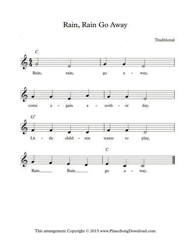 Rain Rain Go Away Free Lead Sheet From Piano Song Download