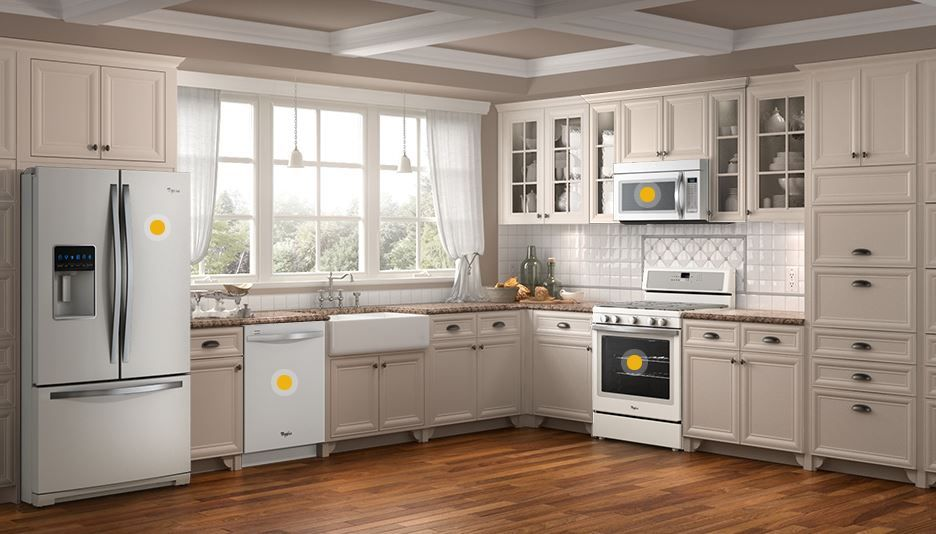 cream cabinets with white applicances - Google Search | kitchen ...