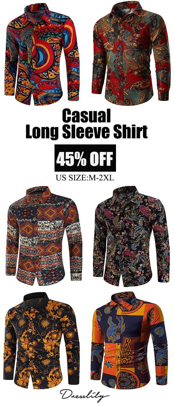 adab5da3546 Flowers Geometric Tribal Print Casual Shirt.Extra 12% off code DL123   dresslily