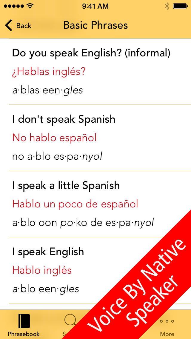 SpeakEasy Spanish Lite ~ Free Travel Phrases with Voice and Phonetics iPhone App
