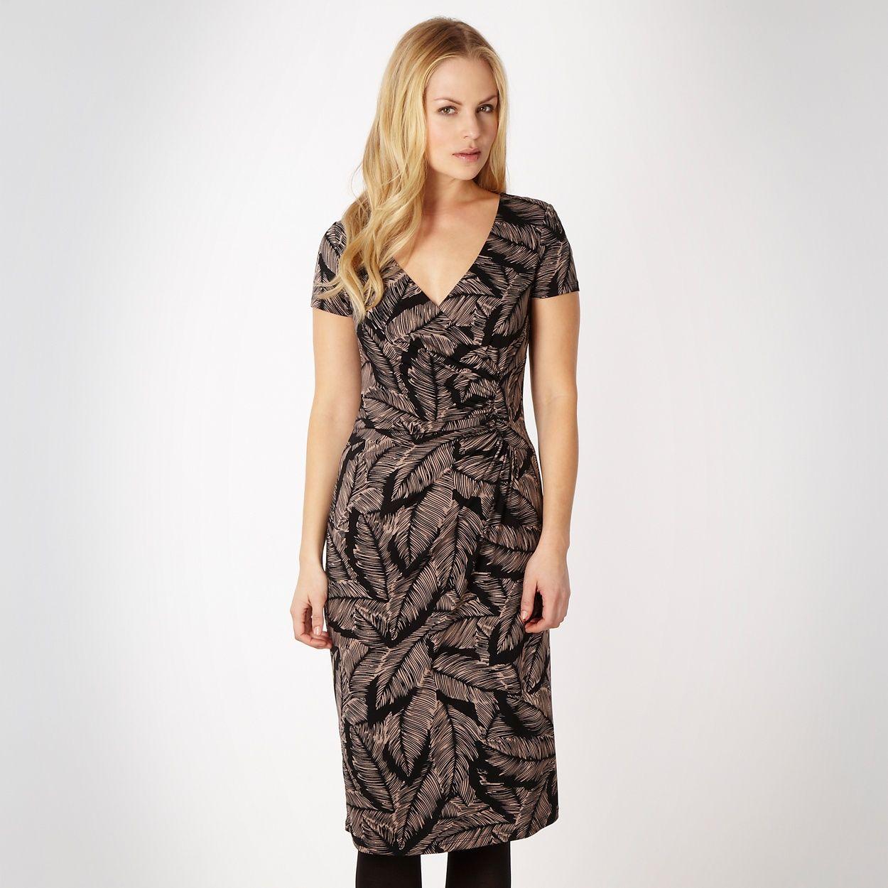 Betty Jackson Black Designer Feather Printed Wrap Dress At Debenhams