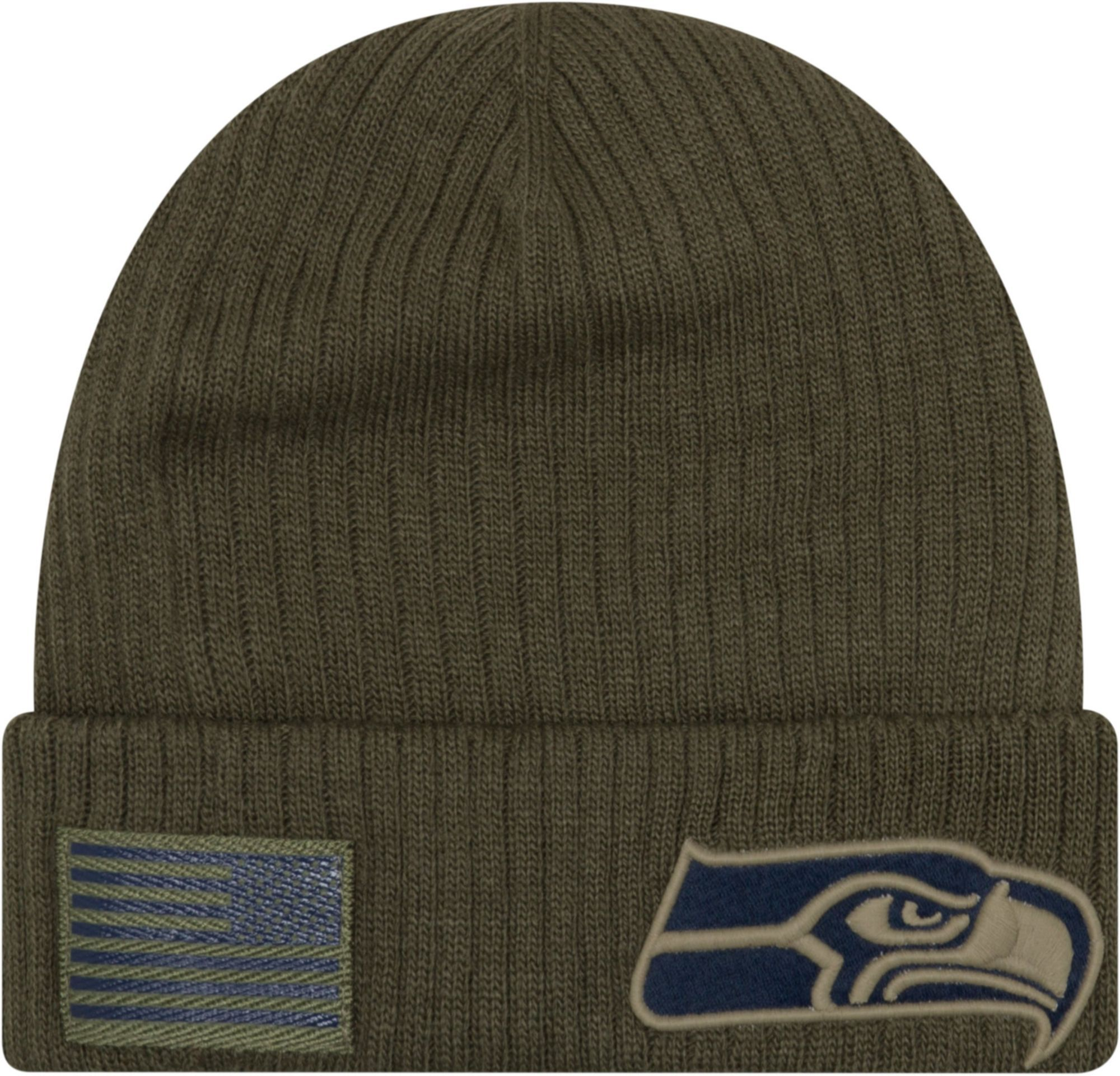 1161f9ffd3f New Era Men s Salute to Service Seattle Olive Cuffed Knit