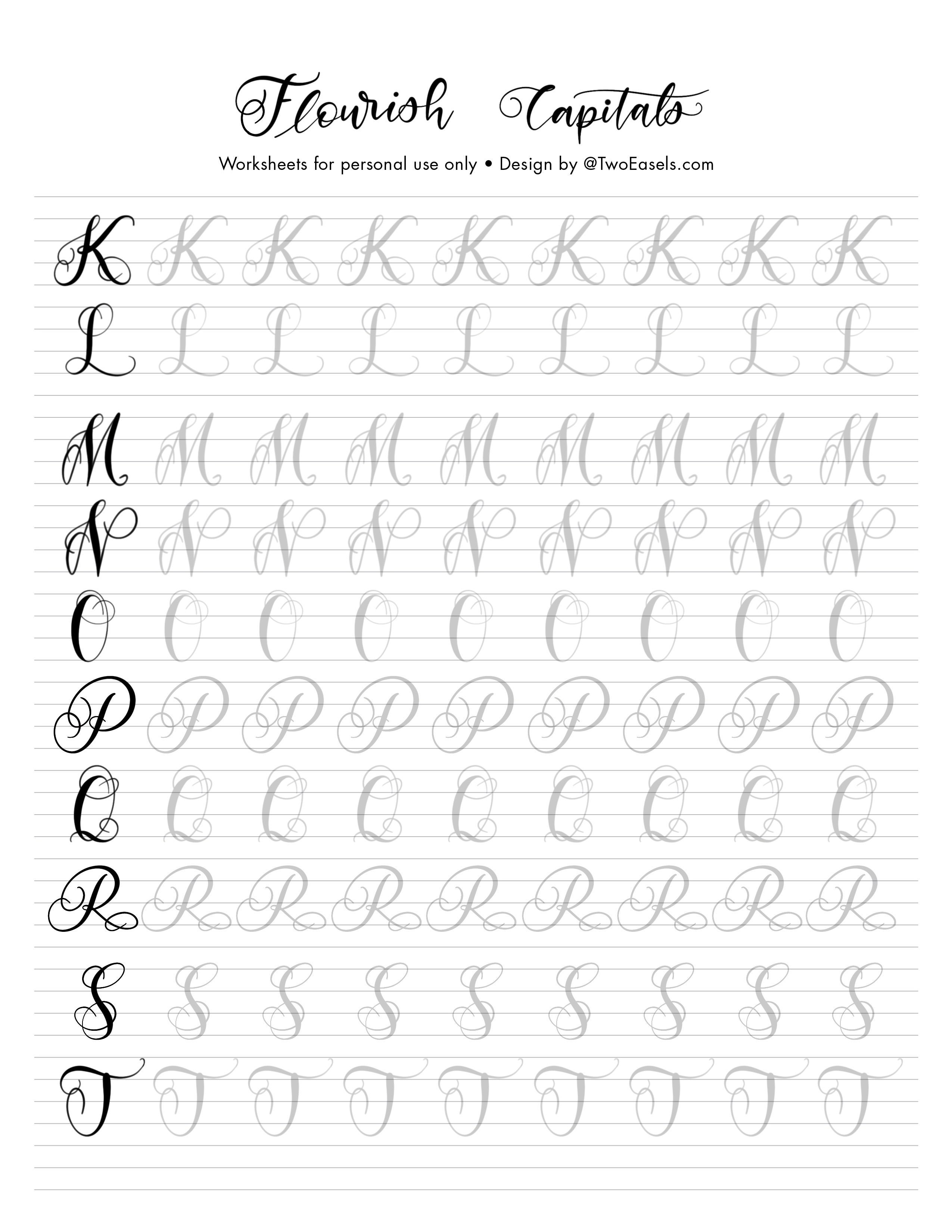 Small Flourish Capital Letters Alphabet Modern Calligraphy Etsy In 2020 Lettering Alphabet Hand Lettering Worksheet Learn Hand Lettering