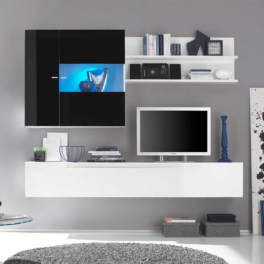 Hängende Wohnwand In Schwarz Weiß Hochglanz 210 Cm Breit (3 Teilig) Jetzt  Bestellen