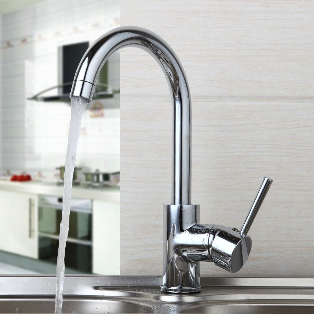 360 Swivel Kitchen Sink Faucet Hot & Cold Water Chrome Finish Mixer ...
