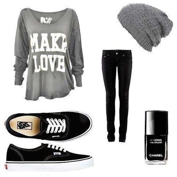 Make love shirt, Black skinny jeans, Black Vans, and Grey knit hat