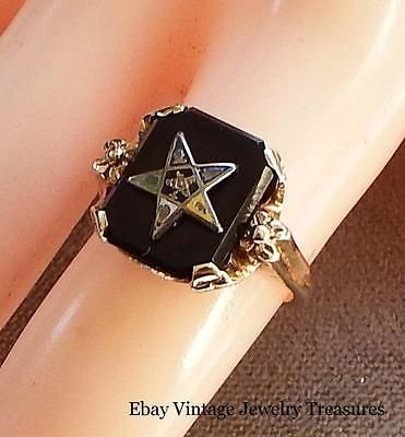 Vintage 10k Gold Eastern Star Onyx Masonic Ring Size 5 Estate Find Masonic Ring Vintage Jewelry Jewelry