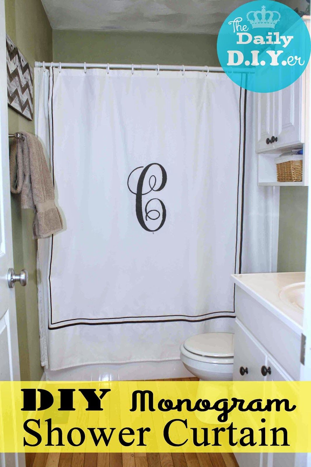 DIY Monogram Shower Curtain. Personalize Your Bathroom With This Easy  Stencil Technique. Video Tutorail