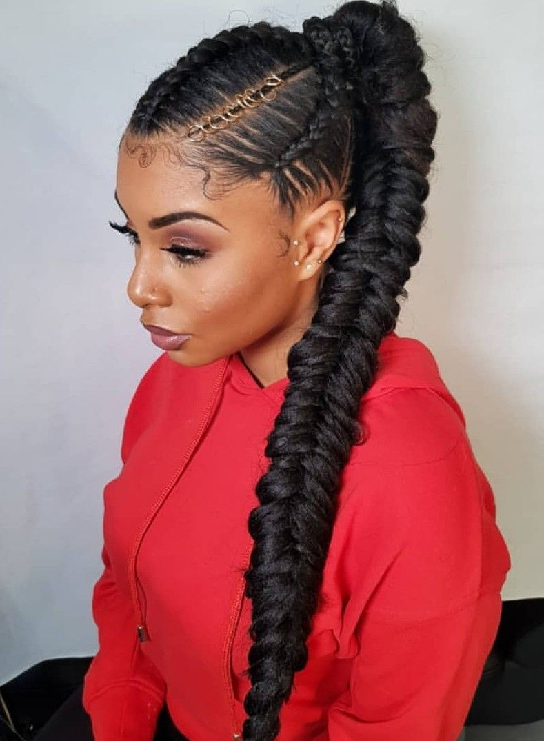 Cornrow Updo With Fishtail Braid In 2019 Braided Ponytail