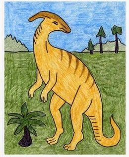 Draw A Parasaur Dinosaur Desenho