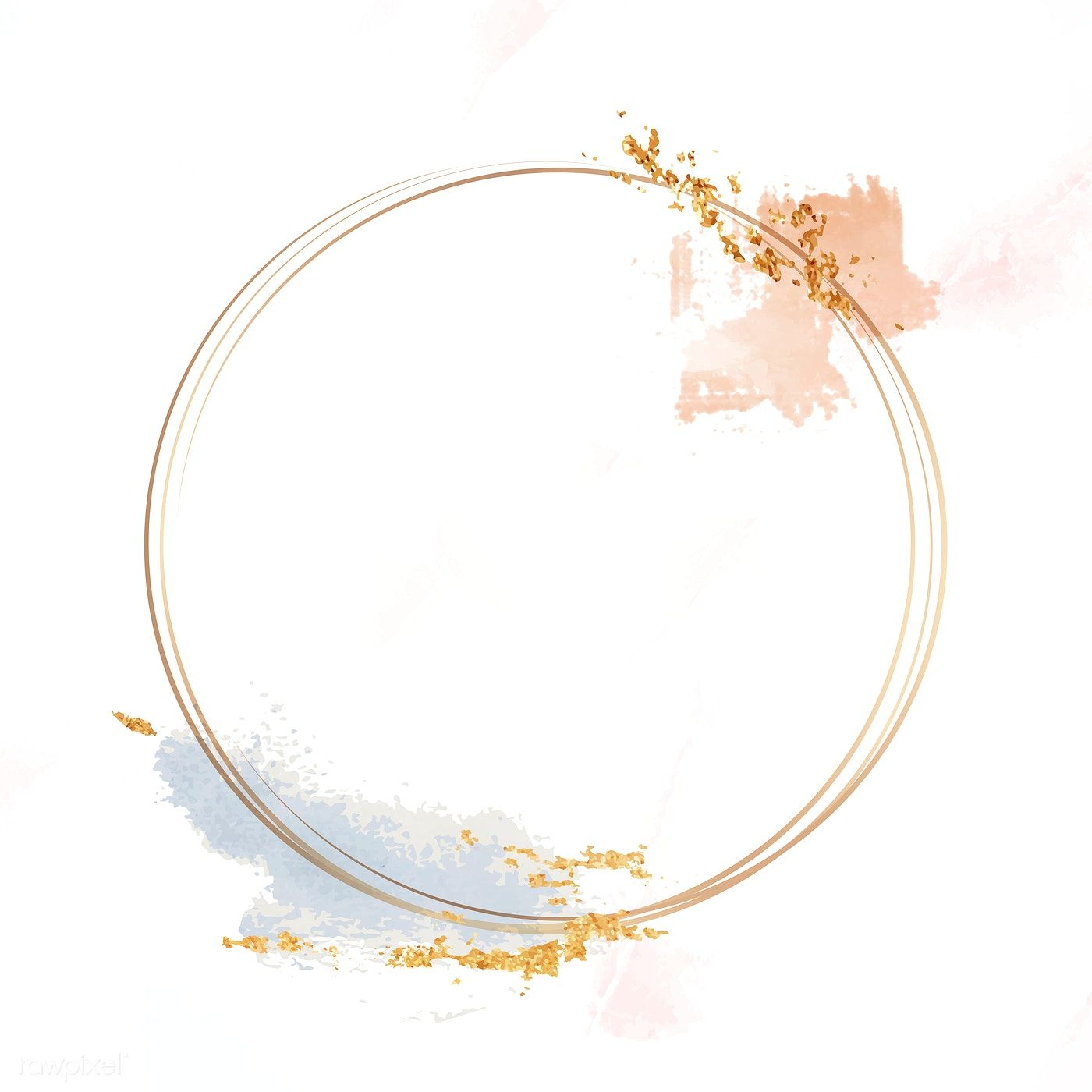 Gold Circle Frame On A Pastel Brushstroke Background Vector Free