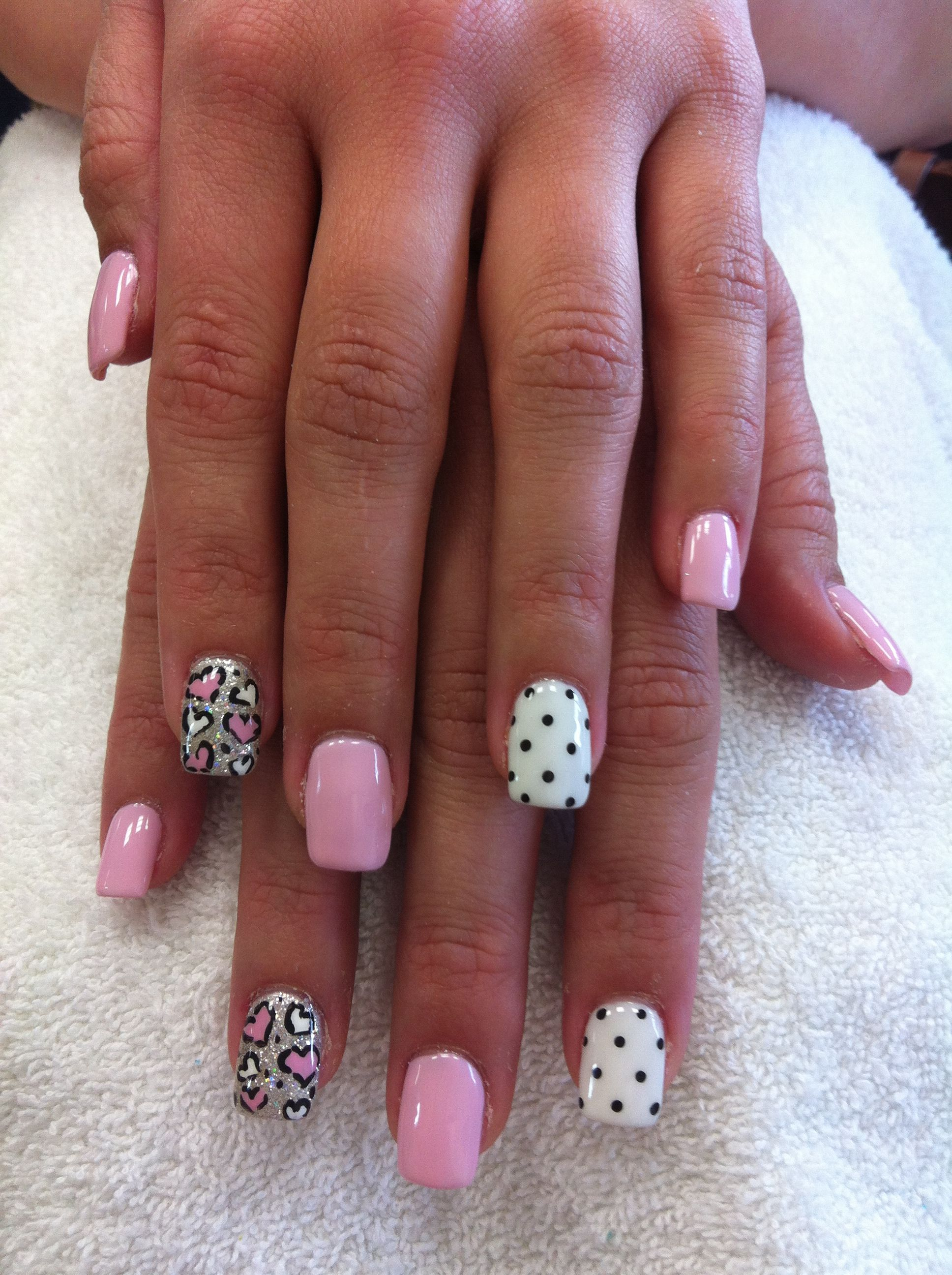 Alicia\'s nails and toes are this way...pink & white hearts...white ...