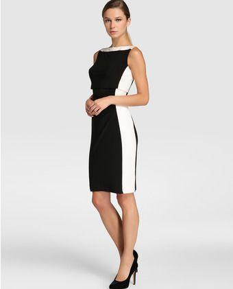 84f3b21ced Vestido corto de mujer Lauren Ralph Lauren en blanco y negro ...