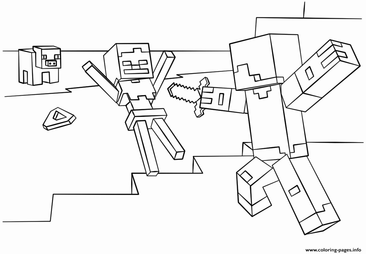 32 Minecraft Skeleton Coloring Page In