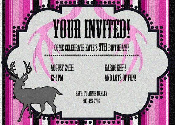 Pink Camo Birthday Party Invitation JPEG 300 dpi Printable DIY – 14th Birthday Invitations