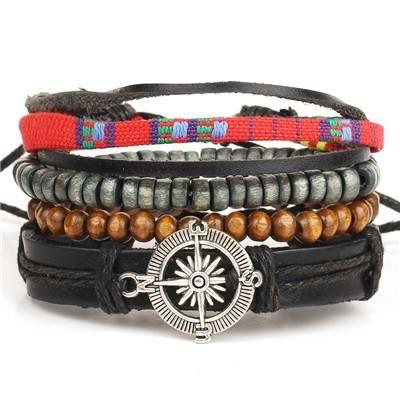 Compass 4 piece Set!!  Genuine Wrap Leather Bracelets For Men