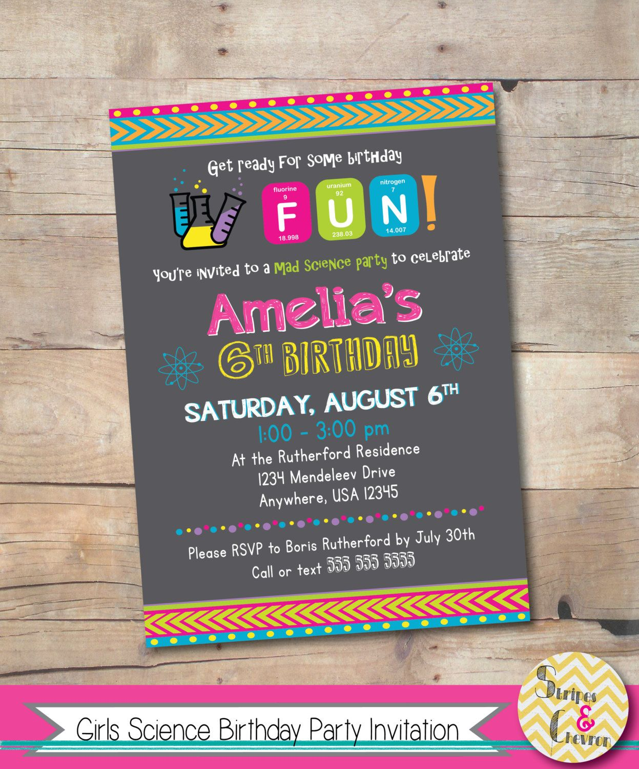 Science birthday invitation, Girls party invite, Kids science party ...