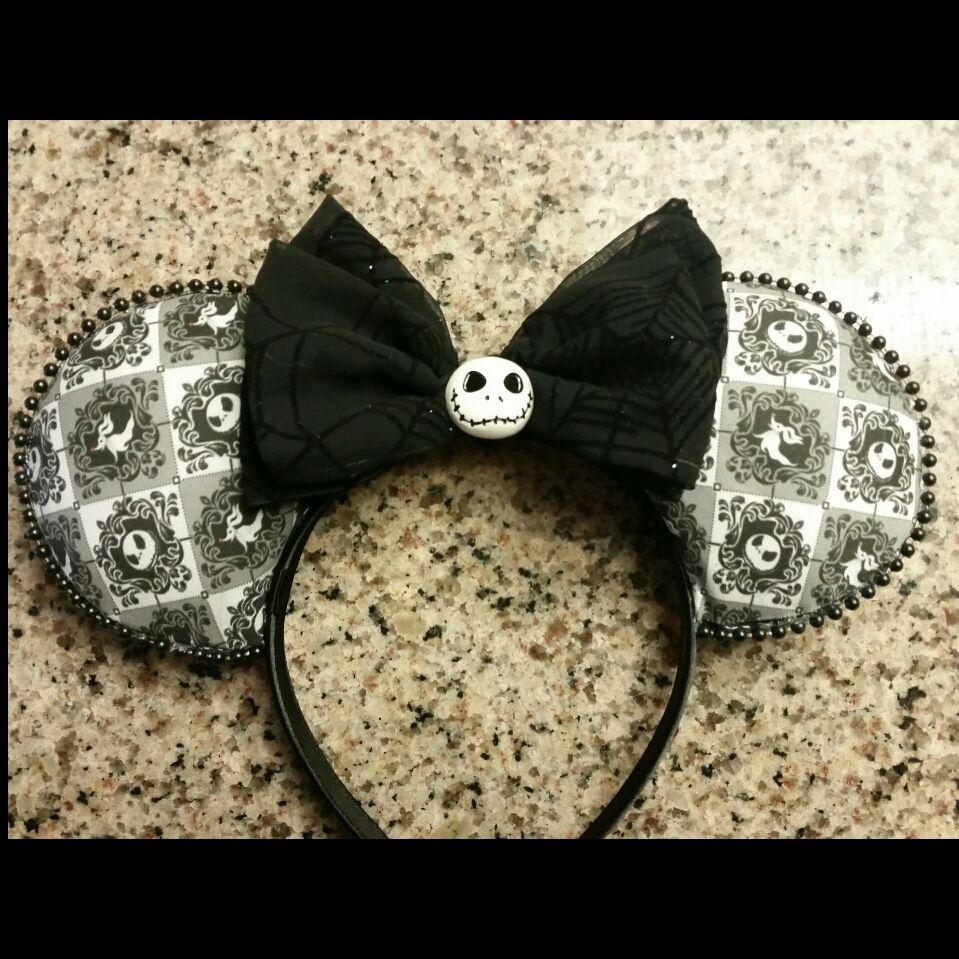Cute Jack Skellington Nightmare Before Christmas inspired Silver Sparkle Minnie Mouse Headband Ears