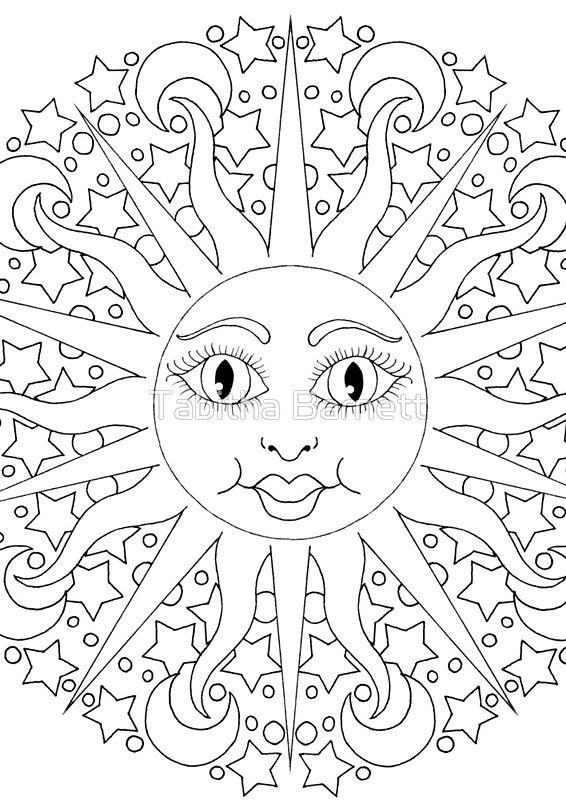 Sun Moon Stars Celestial Sun Spiral Notebook By Tabitha Barnett Moon Coloring Pages Star Coloring Pages Love Coloring Pages