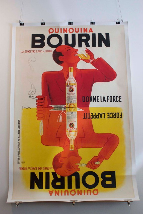 Original Vintage French Advertising Poster - Antique Bourin Quinquina 1936 by Bellenger 140 x 200 cm in 2019   French vintage. The originals ...
