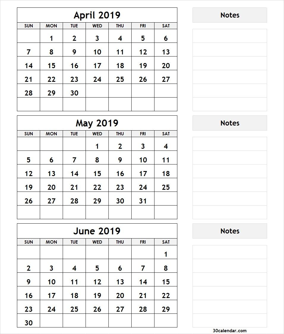 image relating to 3 Month Calendar Printable identified as 3 Thirty day period April May possibly June 2019 Calendar 2019 Month to month