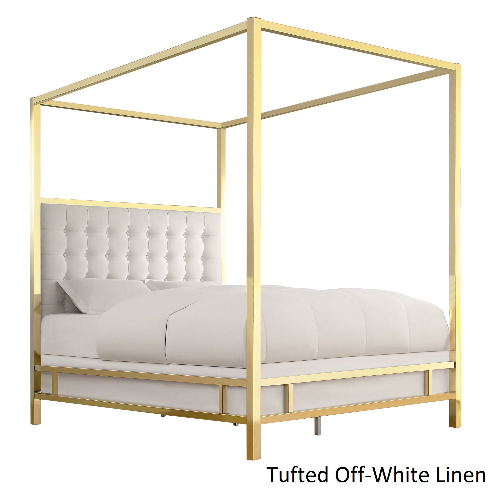 Solivita Queen-size Canopy Gold Metal Poster Bed by Inspire Q (Moroccan  Charcoal Black Linen)