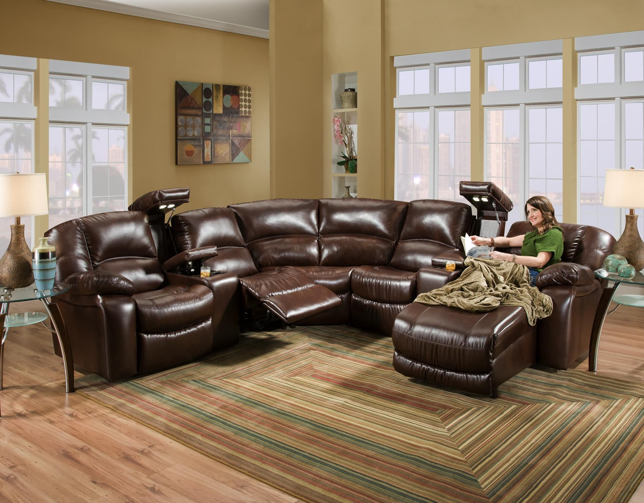 Leather sectional with chase Redecorating Pinterest