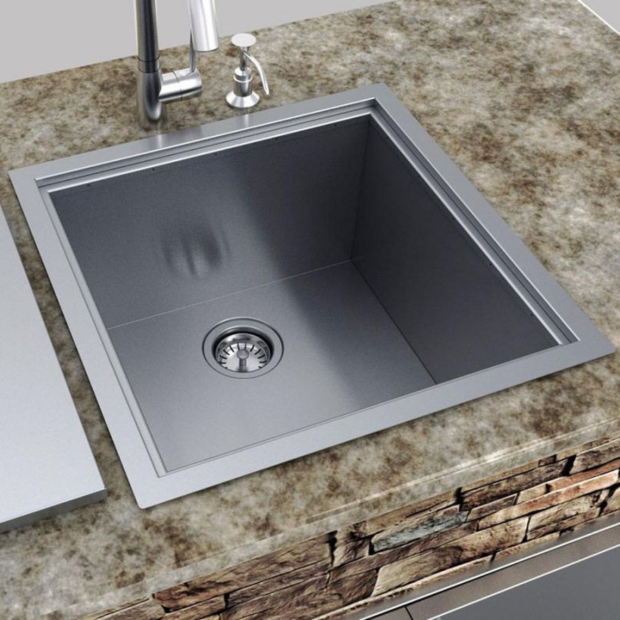 Sunstone 20 Inch Outdoor Rated Dual Mount Single Basin Stainless Steel Sink With Lid B Sk20 Raised Outdoor Kitchen Sink Single Basin Sink Outdoor Kitchen