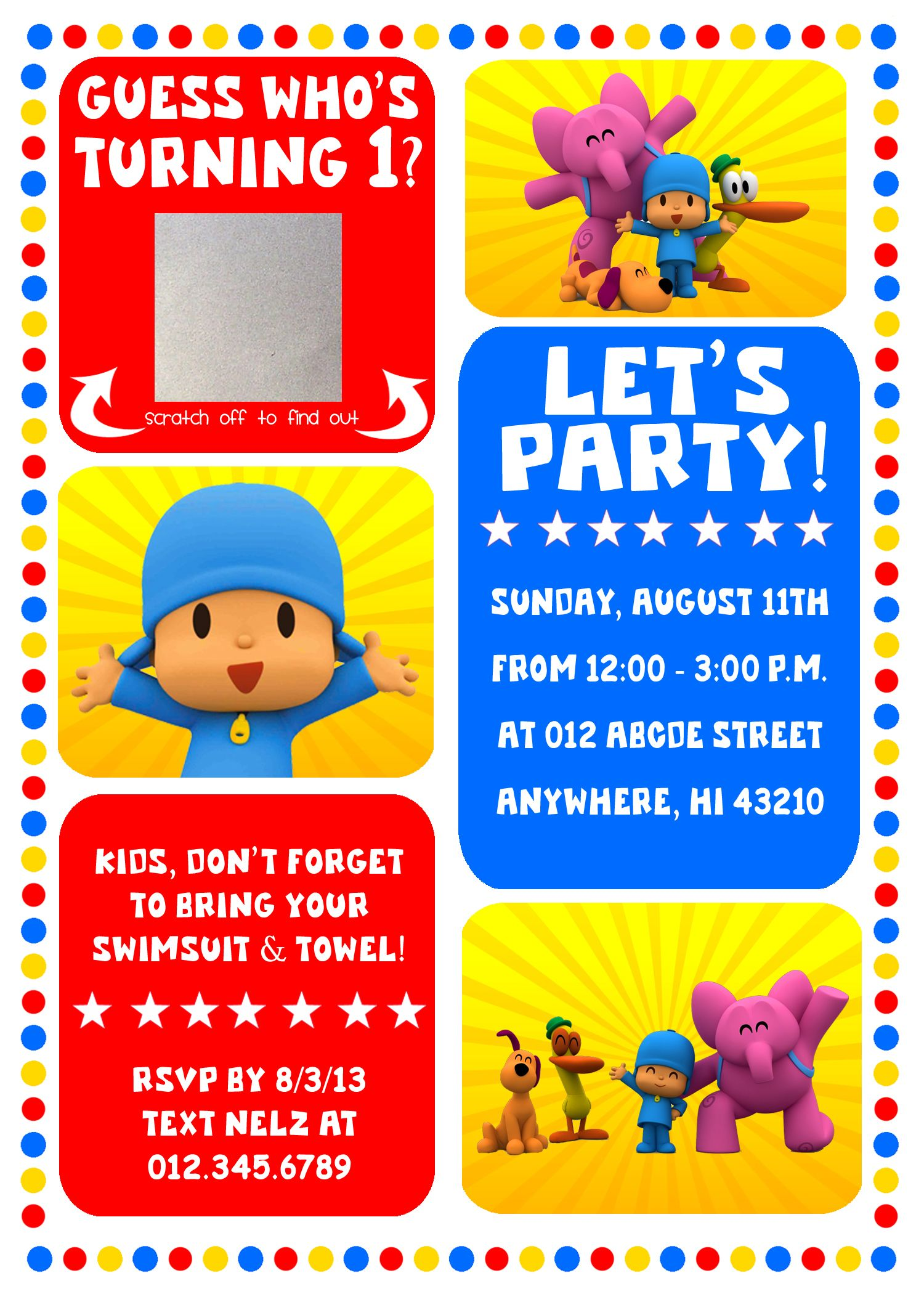 EANS 1ST BIRTHDAY POCOYO PARTY INVITATION if anyone needs this
