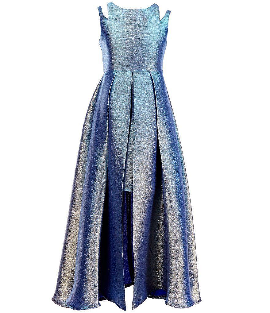 7c185629f Tween Diva Big Girls 7-16 Double-Strap Metallic Brocade Dress