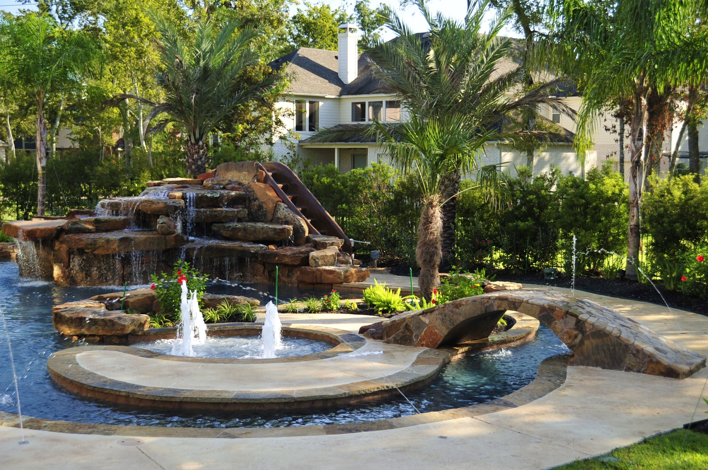 Waterfall Pool Design By Signature Pools Of Texas.