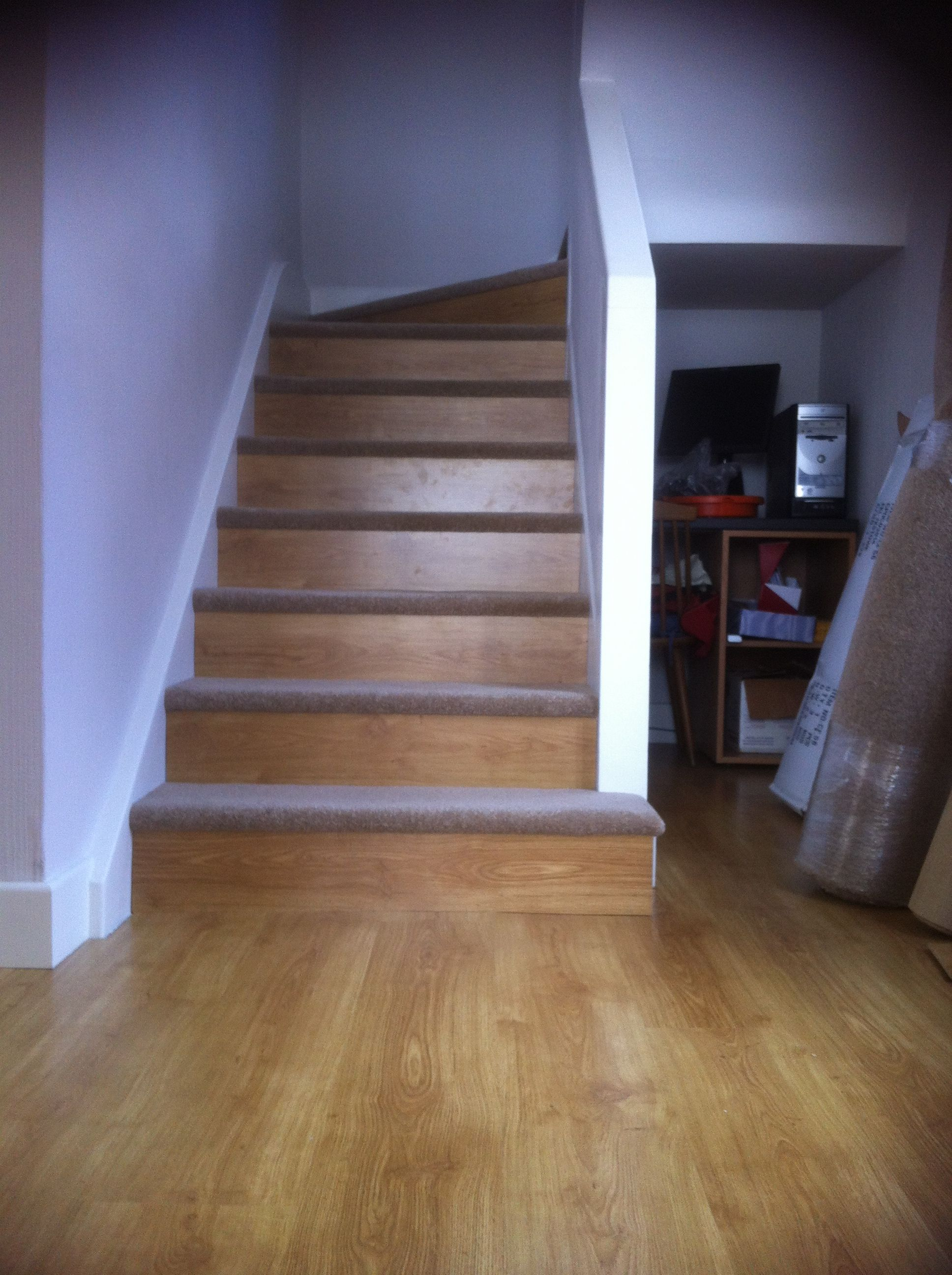 Our diy staircase using leftover laminate flooring on the risers our diy staircase using leftover laminate flooring on the risers carpet from freecycle on the solutioingenieria Images