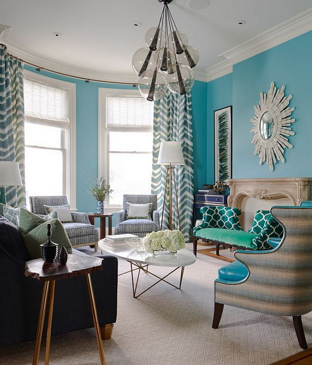 Turquoise Living Room Decor Ideas With White Window Frames And Ceiling Also Pale Chevron Curtain