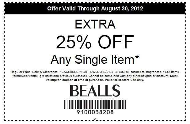 graphic relating to Stage Stores Printable Coupons named Bealls Additional 25% off any solitary products [Exp 8/30
