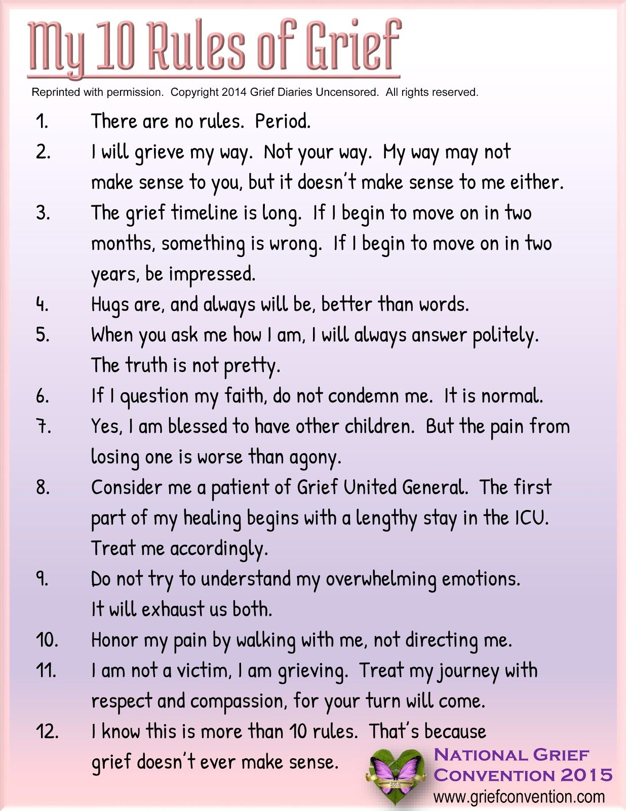 National Grief Convention My 10 Rules Of Grief Grief Therapy Grief Counseling Grief Healing
