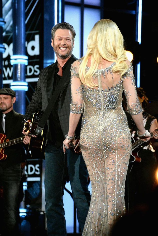 b066f95d879 Gwen Stefani Dazzles In A Sheer Gown For Duet With Blake Shelton ...