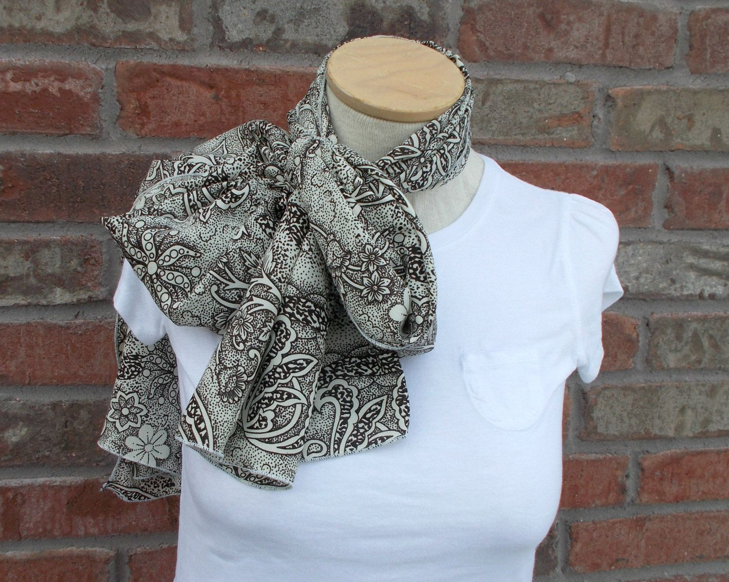 Extra Long Scarf Black and Cream Floral Pattern Spring Scarf Shawl Scarf Chiffon Scarf Boho Scarf Lightweight Scarf Summer Scarves by foreverandrea on Etsy