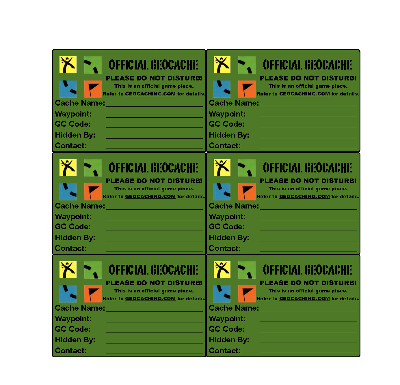 It's just a graphic of Insane Official Geocache Printable
